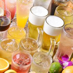 サワー、ハイボールなどの定番ドリンクからカクテル・ワイン・焼酎など全80種類以上が飲み放題!!