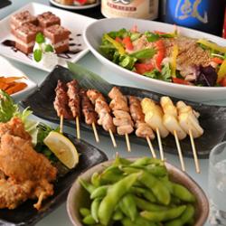 串盛りをフォンデュスタイルで楽しむ食べ放題 サイドメニュー4品も食べ放題 さらに2時間飲み放題付き