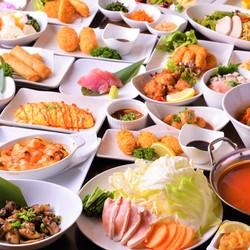 選べる2種スープ!豚しゃぶ鍋と全130種食べ飲み放題セットになって超お得なプラン♪コスパ抜群!