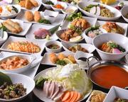 酒肴から〆のスイーツまで、料理60品+ドリンク80種とバリエーション豊かな内容で楽しめる食べ飲み放題プラン。寒い時期は特に6つのスープから選べる『桜姫鶏のお鍋』がおすすめです。