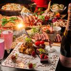特別な日にぴったりのデザートプレート♪Happy Birthday、Happy Wedding、○○さん、おつかれさまでした!などお好きなメッセージを添えることができます。飲み放題付、お得なアニバーサリーコースは4000円