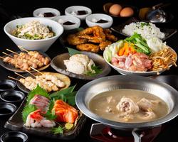 コスパ◎のお得なコースです♪定番の鶏料理と2時間飲み放題をお楽しみいただけます。