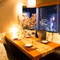 上野駅近くにあるビル7Fからの夜景を一望できる個室でディナー