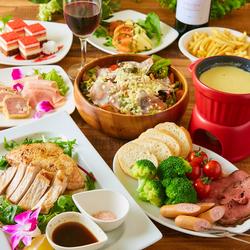バラエティ豊かなイタリア料理をお楽しみ下さい!メインは国産牛肉を使った2種の肉料理からお選び頂けます