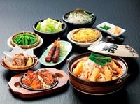 ・枝豆 ・セセリ(赤) ・トロ(赤) ・大根サラダ ・エビフライ ・本日の1品 ・鶏から ・鍋 ・〆