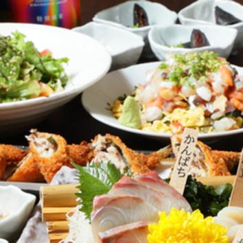 飲み放題3時間付 磯の揚げだし豆腐と鮮魚三点盛り【楓コース】