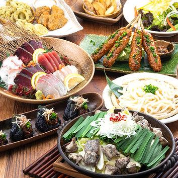 『穫コース』鮮魚四点盛/阿波尾鶏つくねなど料理10品+2H飲放付