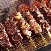 徳島県が誇る地鶏「阿波尾鶏」を使った『串焼き盛り合わせ』※1本より注文可能