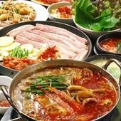 【1日10組限定】選べる4種の韓国鍋は【チーズタッカルビorチーズプルコギorサムギョプサルor赤豚鍋】より♪