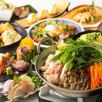<平日限定>3H飲放◆種鶏のタタキ・鶏塩鍋等[10品]しずくコース