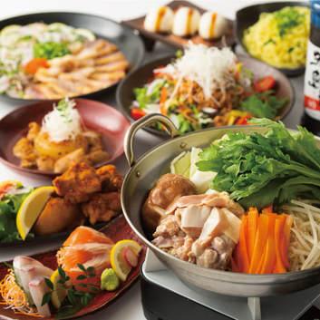 2H飲み放題◆胡麻カンパチ・鶏煮込み・ちゃんこ鍋コース