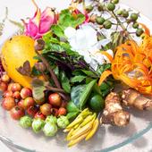 シェフみずから、島中をさがして集める果物やハーブ