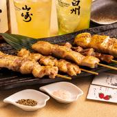 厳選した北海道産鶏肉&豚肉を使用『お肉の串焼き盛り合わせ』