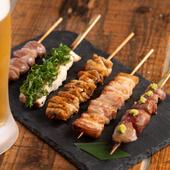 豚バラ、白レバー(串焼き)