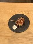 生卵の天ぷらをご飯とともに