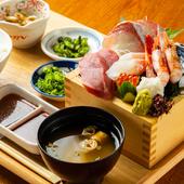 ランチタイムにも大好評。旬の魚を存分に味わう『魚樽升盛り定食』