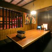 友人との飲み会に。2階には4~8名まで利用可能な個室を完備