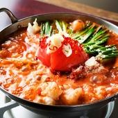 リコピン+コラーゲンのヘルシー鍋は女性に大人気『元祖トマトもつ鍋』