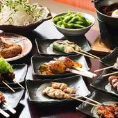 人気の串や鍋が登場する、豪華なコース料理(一例)も好評