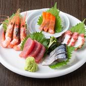 旬の新鮮魚介で季節を味わう『刺身五点盛』
