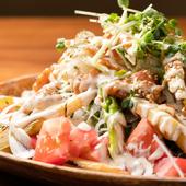 地元香川県産の極太アスパラともろみ入り自家製ドレッシングが好相性な『焼きアスパラの和風サラダ』