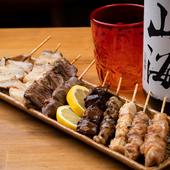 朝締めの鶏肉を使った、串もの9品の盛り合わせ例
