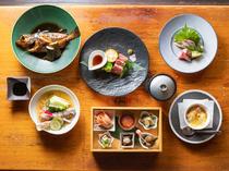 新鮮な海の幸や岡山の地元野菜を楽しめるコース料理