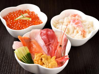 うに丼いくら丼海鮮丼3種食べ比べ