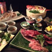 究極の飲み放題がついた、お酒も料理もたっぷり味わえるコース。焼酎、梅酒、果実酒、日本酒など種類豊富に取り揃えております。 本まぐろのかま造など 季節の素材を楽しめます。