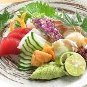鮮魚を堪能!華やかな見た目の『造り5種盛合わせ』