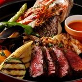 マルマーレのMIXグリルは肉・魚貝・野菜が一皿で楽しめます。