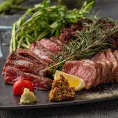 特上和牛の網焼き3種食べ比べ