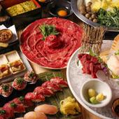 【黒毛和牛と馬肉の専門店】ウニしゃぶや肉寿司の食べ放題が人気