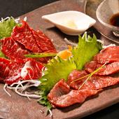 青森県産霜降り馬肉と赤身の盛り合わせ