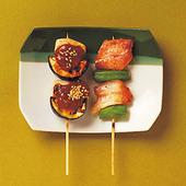 犬鳴豚とオクラの炭火焼/石川小芋と千両茄子の肉味噌田楽