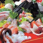 全国から毎日直送される鮮魚を刺身で(2人前~・3種980円)