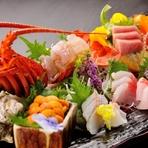 宮城や三陸産の日本有数の漁場から仕入れる旬の魚介類は鮮度抜群