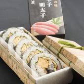 持ち帰りあり。手巻き寿司(一巻き10個)や自家製の明太子