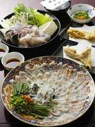 宮崎、知多産の天然とらふぐを使用した当店名物コースです前菜、ふぐ刺し、唐揚げ、ふぐちり、雑炊、香の物