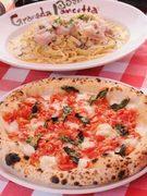 石窯焼きピッツァと茹であげパスタをご賞味下さい。