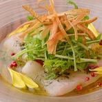 本日の鮮魚のカルパッチョ ソースはお楽しみ・・・