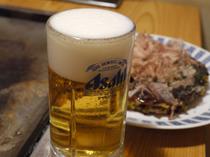 お好み焼や焼そばには冷たいビールがよく合います。