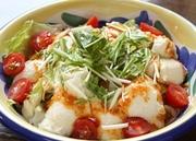 """さっぱり野菜と豆腐は、やっぱり""""ピリ辛""""仕立てのドレッシングが良く合う。豆腐も一丁入った満点サラダ。"""