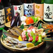福井の旬の山の幸、海の幸を厳選した素材を当店自慢の炉ばた焼きにてお楽しみ下さい。