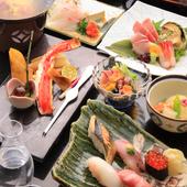 季節の食材をふんだんに使用した寿司会席は宴会に最適です