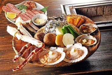 大地の恵み おまかせ炭火焼盛り合わせ「極」 ~厳選された北海道食材を中心に炭火焼きで豪快に!