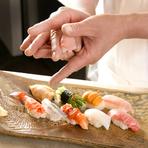 有名店で修業した職人が、一貫ずつお作りするお鮨メインのコースです。