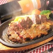 【鉄板】熟成肉牛ロースステーキ(160g)