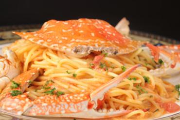 まるごと一杯ワタリガニのトマトクリームソーススパゲティ