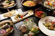 食材にとことんこだわる大将が旬の食材を使用して創るコース料理は見た目も味も自信あり!!